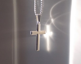 Man Cross Necklace, Boyfriend gift, Silver Cross Necklace, Mens Cross Necklace, Cross Necklace For Man, Cross Necklace Men, Gift, Chain