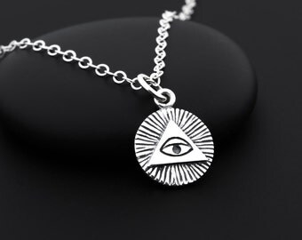 All Seeing Eye Necklace, Illuminati Necklace, Sterling Silver, Eye of God, Illuminati Jewelry, Eye of Providence, Third Eye Necklace