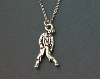 Zombie Necklace, Halloween Necklace, Halloween Jewelry, Zombie Jewelry, Zombie Pendant, Walking Dead Jewelry, 3D Silver Zombie Charm