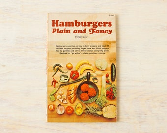 Hamburgers Plain and Fancy 1968 / Vintage cook book / kitsch recipes American Cooking 60's retro
