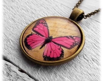 Pink Butterfly - Pendant and Necklace