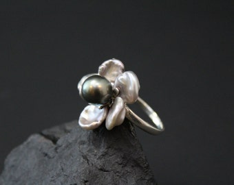 Sterling Silver Keshi Pearl Flower Ring