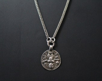 Unique Sterling Silver Wood Nymph Mythological Creature Necklace