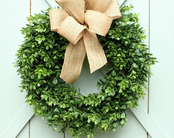 Boxwood Wreath ~ Boxwood and Burlap Wreath ~ Burlap Wreath ~ Artificial Burlap Wreath ~ Year Round Wreath ~ Front Door Wreath
