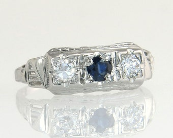 Antique Vintage Estate 14k White Gold .50ct Genuine Diamond & Blue Sapphire Art Deco Ring 2g