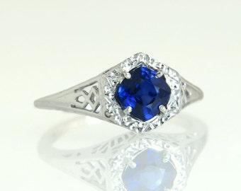 Antique Vintage Estate Platinum .86ct Genuine Blue Sapphire Art Deco Engagement Ring 4.5g