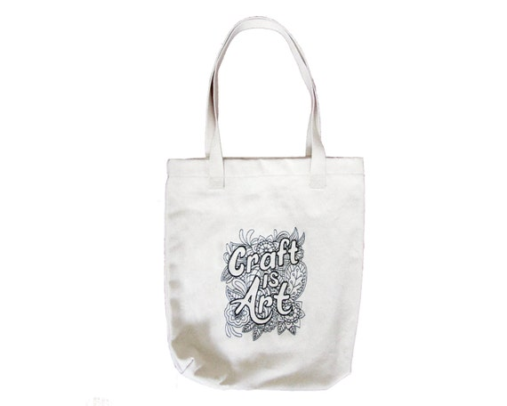 Craft is art tote bag tote bags canvas tote by zellyadesigns for Arts and crafts tote bags