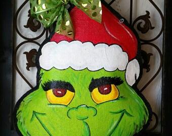 Grinch Christmas Burlap Door Hanger Decoration and Wreath Replacement