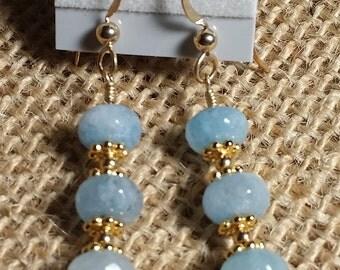 Aquamarine, Gold filled, earrings.