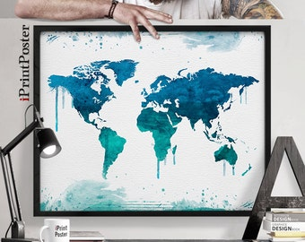 World map art, world map print, world map poster, Large world map, Watercolour map, Travel map, Wall art, Home decor, iPrintPoster
