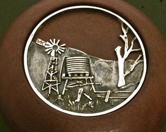 Australian Outback Paperweight, windmill and water tank sterling silver, Redgum
