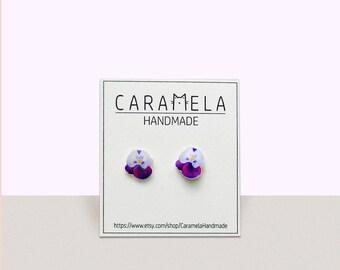 Pansy Flower Stud Earrings Pansy flower earrings Post earrings Purple earrings Gift idea for her