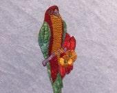 Antique Applique Vintage Silk Parrot Green Red Patch Embroidery Applique Patches Antique Antique Bird Applique Patch 1935 Nr 2