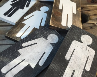 Boy and girls signs / restroom signs / bathroom decor / home decor / humor / boy and girl restroom sign / rustic wood signs / bathroom sign
