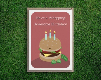 Greeting Cards | Whopper Birthday Burger Card, Happy Birthday, Cute, Fun & Quirky, Silly, Food Art, Burger, Hamburger, Cheese Burger, Red.