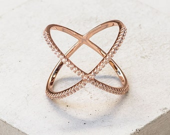 Classic X Ring with Cubic Zirconia - Rose Gold
