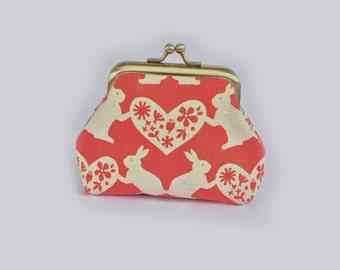 Bunny Coin purse, kisslock clasp, rabbit, heart, paper cut, Scandinavian, red, valentine, small gift, cute