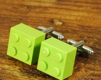 Men's Lego Cufflinks - Original And Modern Men's Suit Accessory - Lime Green Brick with Silver Back