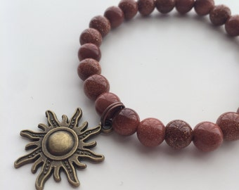 Natural Pearl with Sun charm bracelet