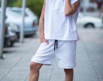 15% SUMMER SALE White Sleeveless Top, Cotton Loose White Tank Top, Sport Blouse, White Top by EUG Fashion