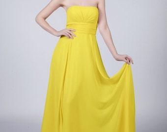 Sun Yellow Strapless Long Bridesmaid/Prom Dress by Matchimony