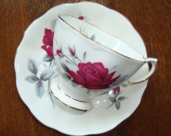 "Royal Albert ""Sweet Romance"" -  Bone China England - Vintage Tea Cup and Saucer - Red Roses with Gold Trim"