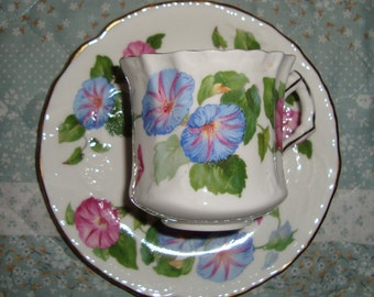 Hammersley & Co - Made in England Bone China - Vintage Tea Cup and Saucer - Pink and Blue Petunias