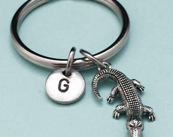 Alligator keychain, alligator charm, animal keychain, personalized keychain, initial keychain, initial charm, customized keychain, monogram