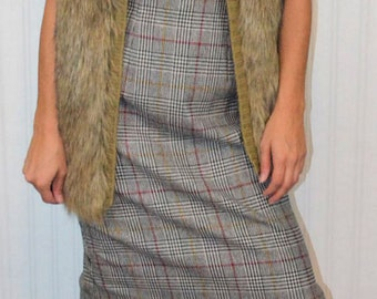 Sale: Vintage 80's Mod Tweed Pencil Skirt Long Midi Skirt Tan Black Red Yellow Knee Length Hipster Mod Modern Preppy High Waist Skirt Small