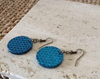 Mermaid Scale Metallic Shimmer Disc Bronze Hook Earrings. OOAK. Only one available.