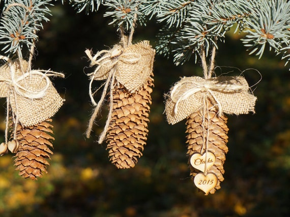 Items similar to custom pine cone decoration for christmas for Pine cone tree decorations