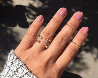 Gold Stack Ring, Cubic Zirconia Ring, Minimalist Ring, Adjustable Ring, Gold Ring, Fashion Ring, Cage Ring, Statement Ring