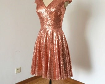 Cap Sleeves V-neck Rose Gold Sequin Short Bridesmaid Dress