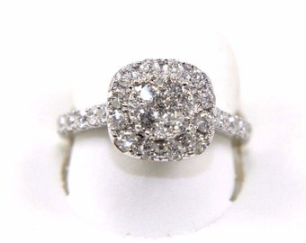 Fine Round Cluster Diamond Engagement Wedding Ring Band w/Halo & Accents 14k White Gold 1.52Ct