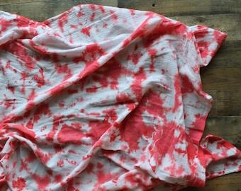 Cotton Gauze Crinkle Hand Dyed Swaddle Blanket - Watermelon