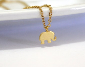 Tiny Elephant Necklace, Elephant Necklace, Lucky Elephant, Gold Elephant Necklace, Necklace With Elephant, Elephant Jewelry, Animal Lover