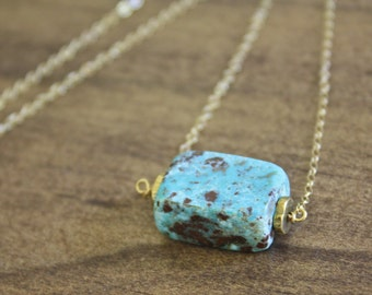 genuine turquoise necklace simple turquoise simple necklace everyday necklace turquoise jewelry gold necklace gift for her boho necklace