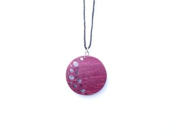 TERRRILL TACTILE Crescent Moon Phase Purple Heart Necklace