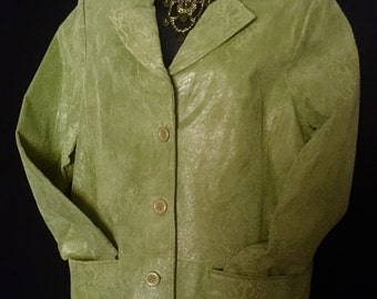 Vinage Lime Green Suede Embossed Leather Jacket   VG243