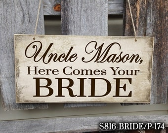 Personalized Here Comes Your Bride Sign, Here Comes Your Bride Sign, Wedding Sign, Here Comes The Bride, Ring Bearer Sign, Personalized Sign