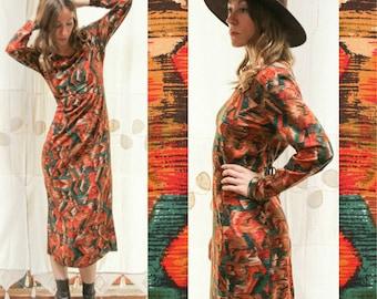 Vintage 1990s Blurred Geometric, Southwest Boho Maxi Dress