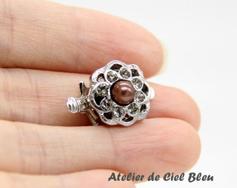 Flower Clasp, Single Strand Clasp, Brass Box Clasp, Silver Plated Clasp, Flower Box Clasp, Rhinestone Flower Clasp, Brown Pearl