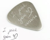 Father's Day Gift, Stainless Steel Guitar Pick, Personalized Guitar Pick, I pick you, Custom guitar pick, actual handwriting guitar pick