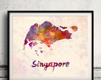 Singapore - Map in watercolor - Fine Art Print Glicee Poster Decor Home Gift Illustration Wall Art Countries Colorful - SKU 1829