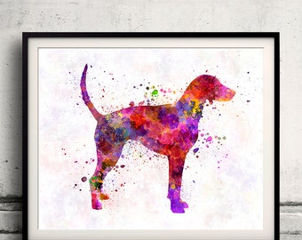 American Foxhound 01 in watercolor 8x10 in. to 12x16 in. Fine Art Print Glicee Poster Decor Home Watercolor Illustration Fowhound - SKU 1039