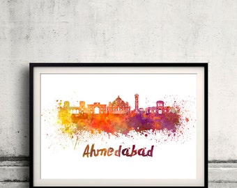 Ahmedabad skyline in watercolor over white background with name of city 8x10 in. to 12x16 in. Poster art Illustration Print  - SKU 1121