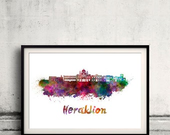 Heraklion skyline in watercolor over white background with name of city - Poster Wall art Illustration Print - SKU 1609
