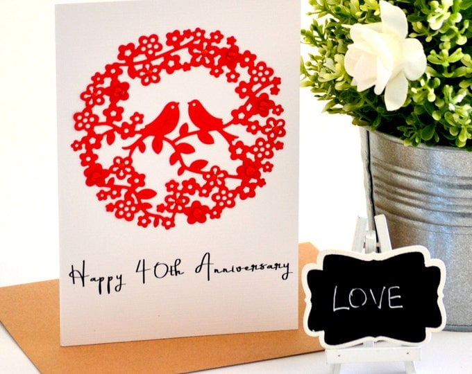 40th Wedding Anniversary Cards Husband Images The Paper Angel Shop Handmade