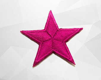Pink Star Iron on Patch(S) - Pink Star Applique Embroidered Iron on Patch -Size 4.5x4.5 cm