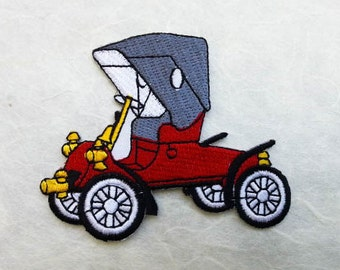 Vintage Car, Classic Old Car Iron on patch (L) 8 x 6.6 cm - Vintage Car, Classic Old Car Applique Embroidered Iron on Patch